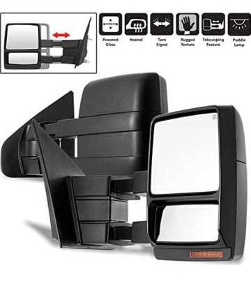 Set of 2004-2006 Ford F-150. telescoping towing Mirrors. Power, Heated, Black, Amber LED turn signal and a puddle mirror in housing.